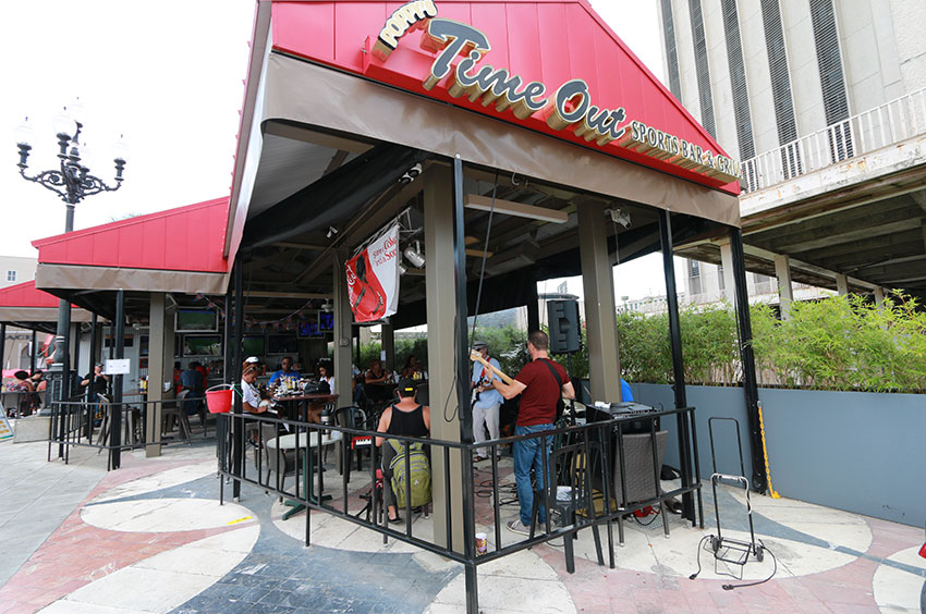 Live music at Poppy's Time Out Sports Bar & Grill on Spanish Plaza in New Orleans