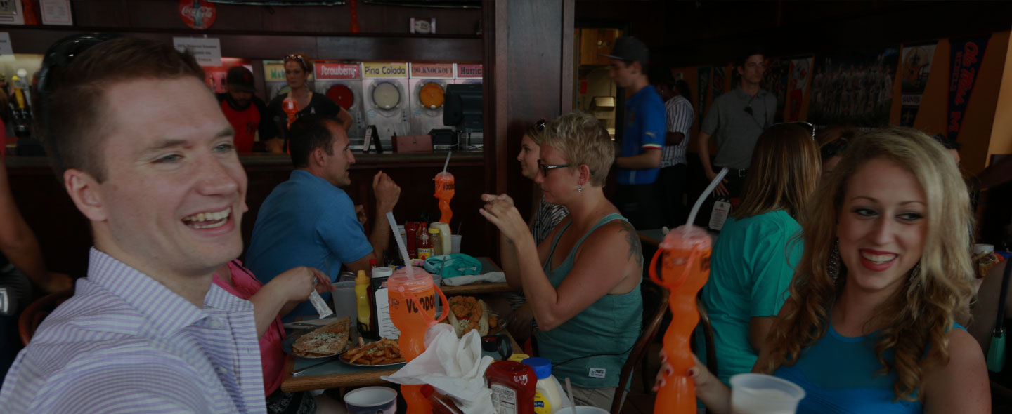 Diners enjoying the big game at Time Out Sports Bar & Grill in New Orleans, LA